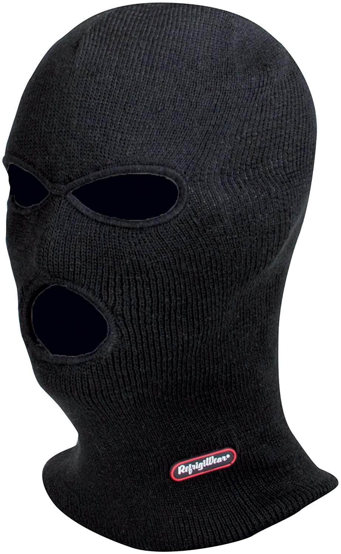 RefrigiWear Silver Magic 3-Hole Full Face Cover Balaclava Ski Mask (Black, One Size Fits All)