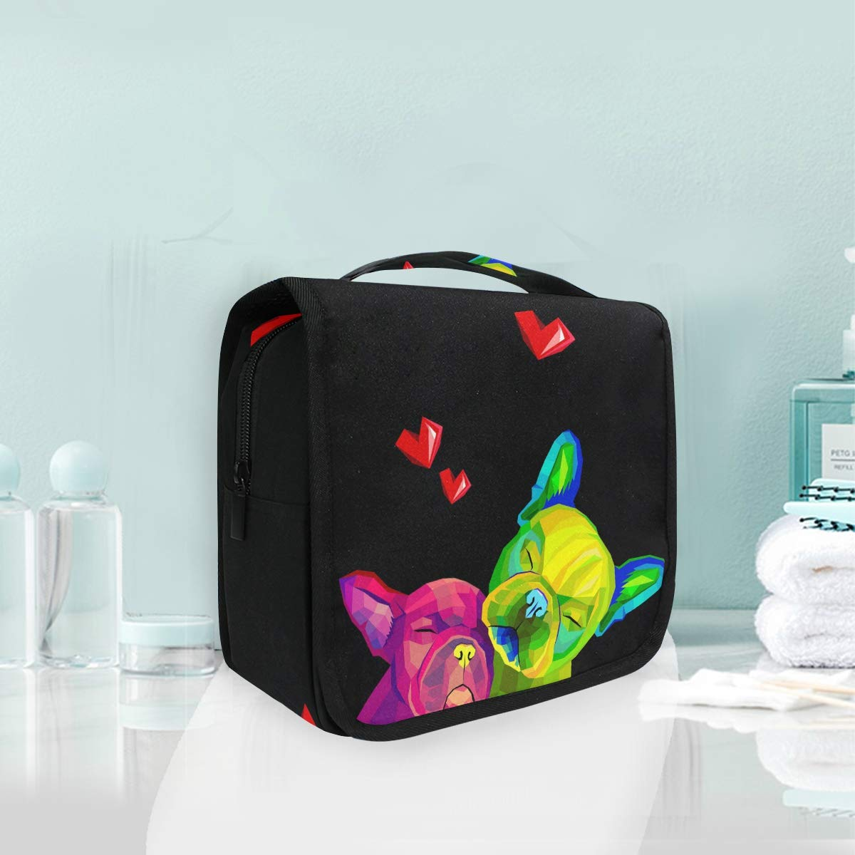 Hanging Toiletry Bag Dog Portable Cosmetic Makeup Travel Organizer for Men & Women with Sturdy Hook
