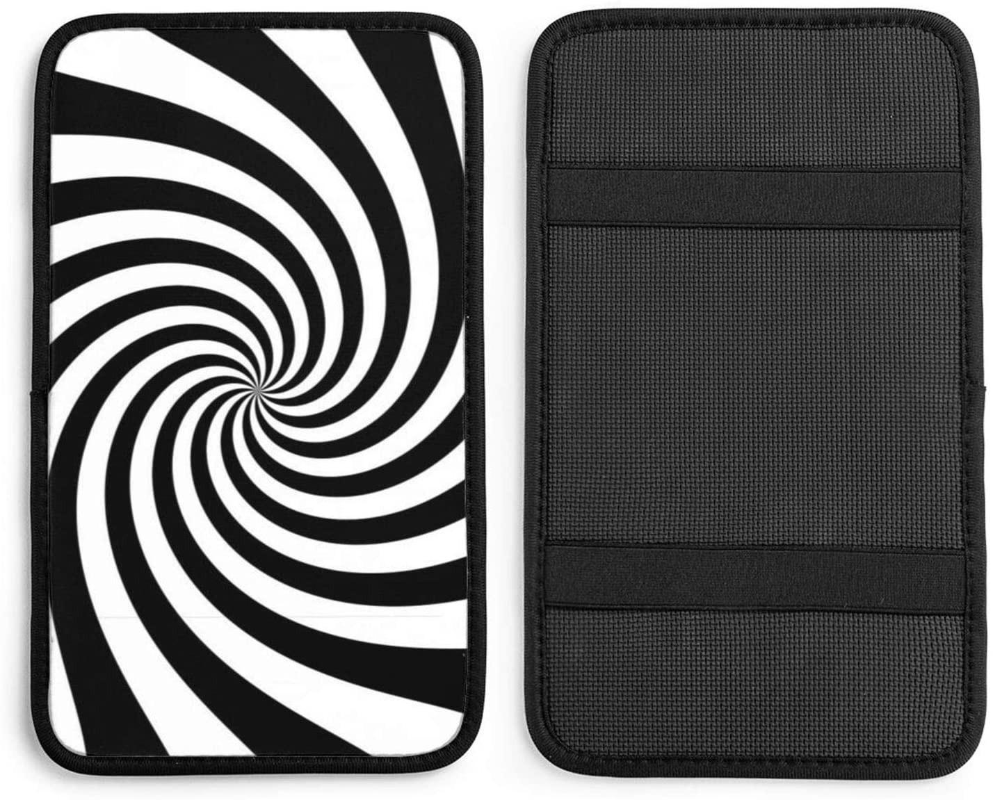 NDZHZEO White and Black Starburst Twirl Auto Center Console Pad Car Armrest Seat Box Cover Protector Universal Fit