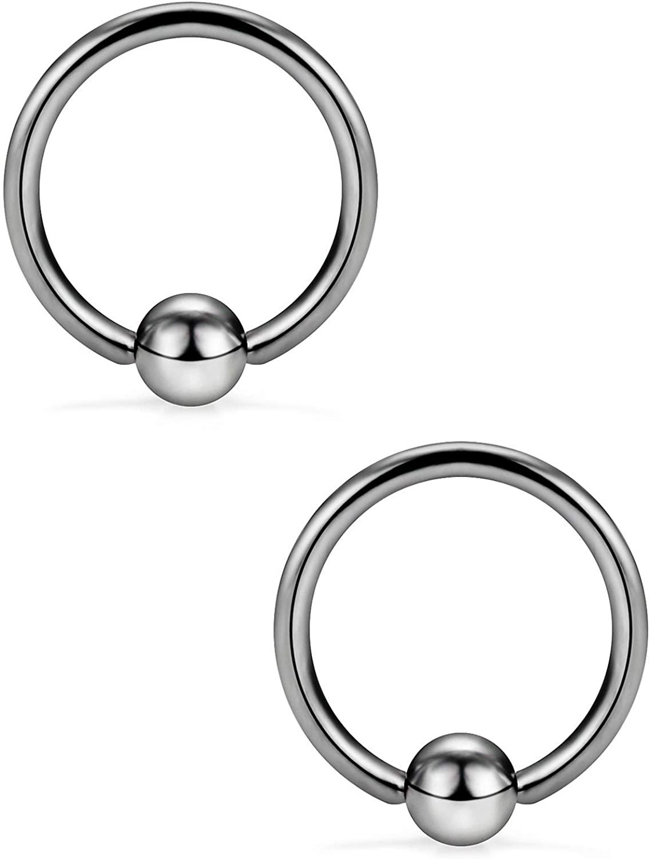 Ocptiy 16G G23 Titanium Cartilage Tragus Earrings Captive Bead Septum Nose Lip Helix Daith Rook Earring Hoop Rings Body Piercing Jewelry 8mm 10mm 12mm 14mm