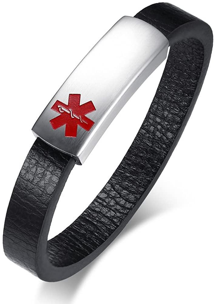 MP Men's Magnetic Buckle Microfiber Leather Stainless Steel Medical Alert Customised Engraved Cuff Bracelet Personalised Black