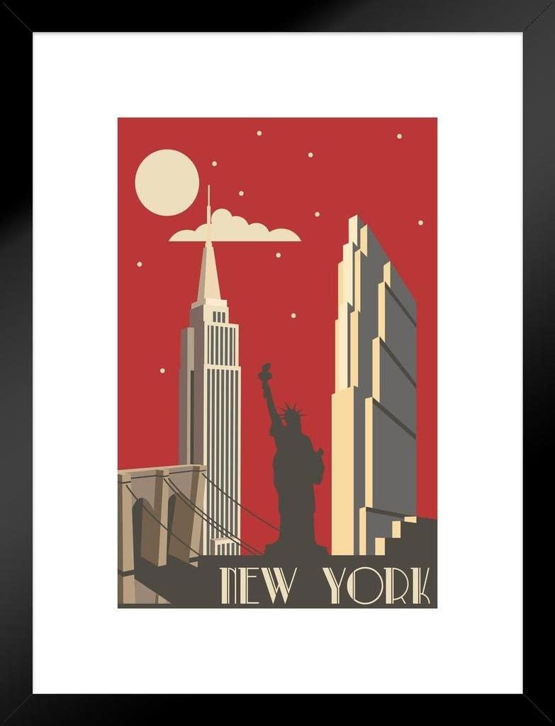 Poster Foundry New York City NYC Big Apple Retro Art Deco Travel Art Print Matted Framed Wall Art 20x26 inch