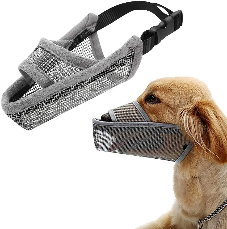Dog Muzzle Anti Biting Barking Muzzles Adjustable Dog Mouth Cover For Small Medium Large Dog Breathable Drinkable Nylon Mesh Mask Muzzle Prevent Biting Barking Licking Anti Chewing Safety Protection