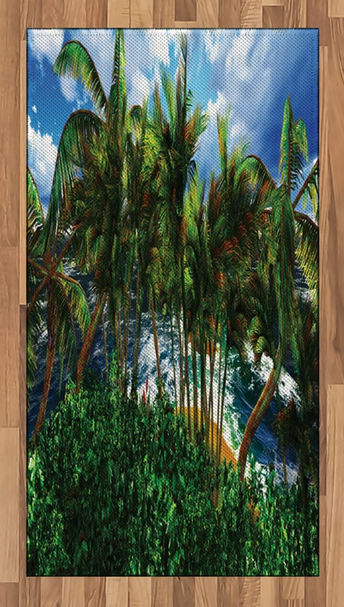 Ambesonne Hawaiian Area Rug, Hawaii Island Palm Trees Forest Greenery Cloudy Summer Sky Sunlight Seascape, Flat Woven Accent Rug for Living Room Bedroom Dining Room, 2.6' x 5', Green Blue Brown