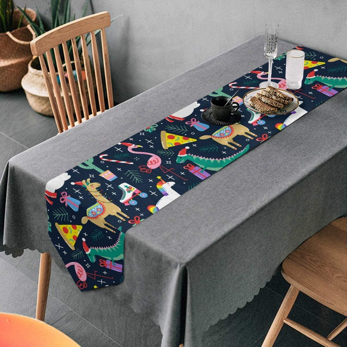 Aflyko Christmas Reindeer Dino Unicorn Table Runner Dining Table Decor 13