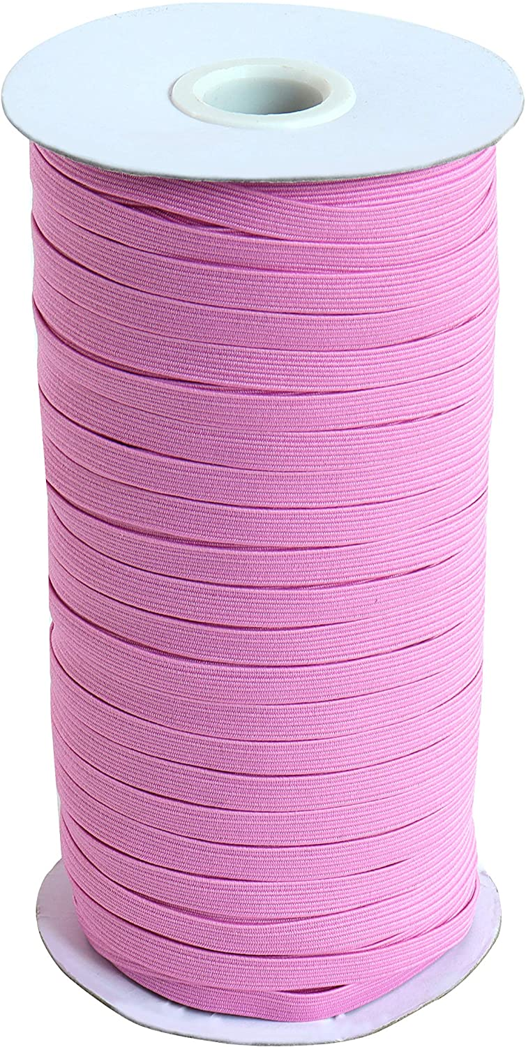 SAGA 100 Yards Pink Elastic String Cord 1/4 inch 6mm Braided Elastic Cord/Elastic Rope for Sewing/Pink Flat Heavy Stretch Rubber Elastic Cord for DIY Craft