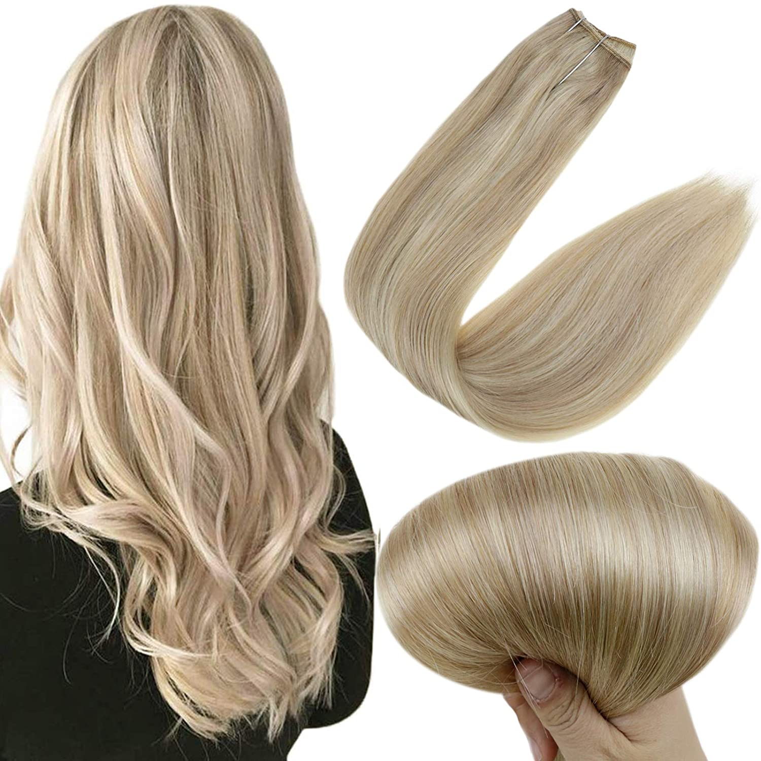 Easyouth One Piece Halo Human Hair Extensions 20 inch 100g per Package Color 18 Ash Blonde Highlighted 613 Yellow Blonde Fishing Line Hair Extensions Remy Hair Wire Extensions Easy to Use for Women