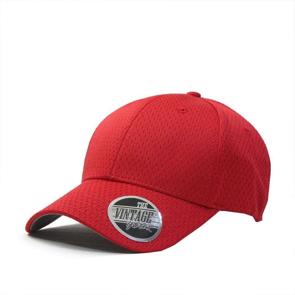 Plain Pro Cool Mesh Low Profile Baseball Cap Red