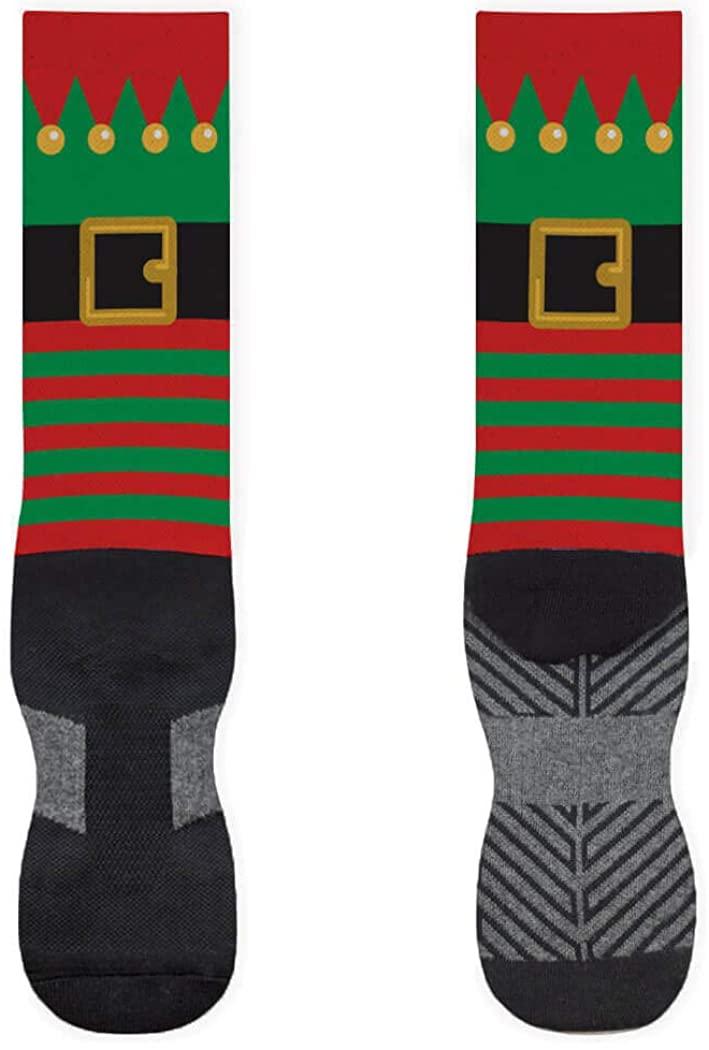 Holiday Printed Mid-Calf Socks | Festive Christmas Elf | Red/Green