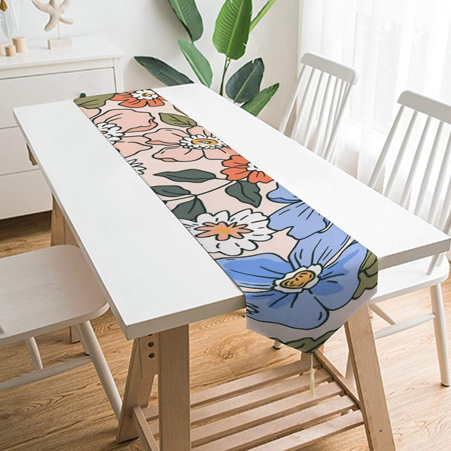 UNSUWU Table Runner Spring Bouquet Floral Flowers Pattern Table Runners 70 inches Long Non-Slip Easy to Clean Heat Resistant Modern Table Runner with Tassels for Family Dinner Dining Kitchen