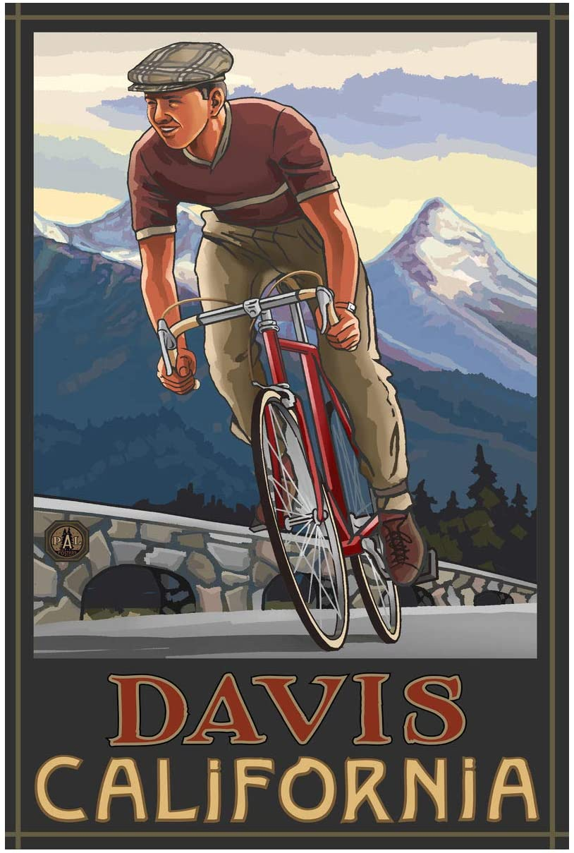 Davis California Downhill Biker Blue Giclee Art Print Poster from Original Travel Artwork by Artist Paul A. Lanquist 24 x 36