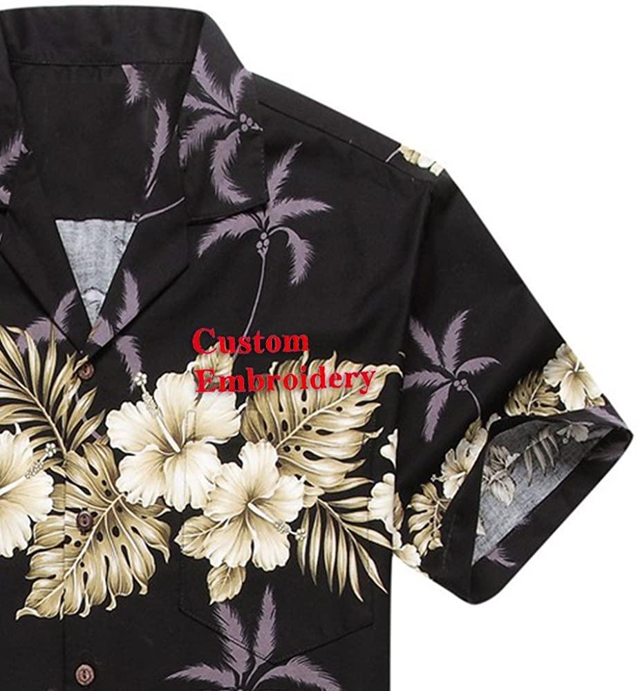 Made in Hawaii Men's Hawaiian Shirt Aloha Shirt Palm with Cross Hibiscus in Black