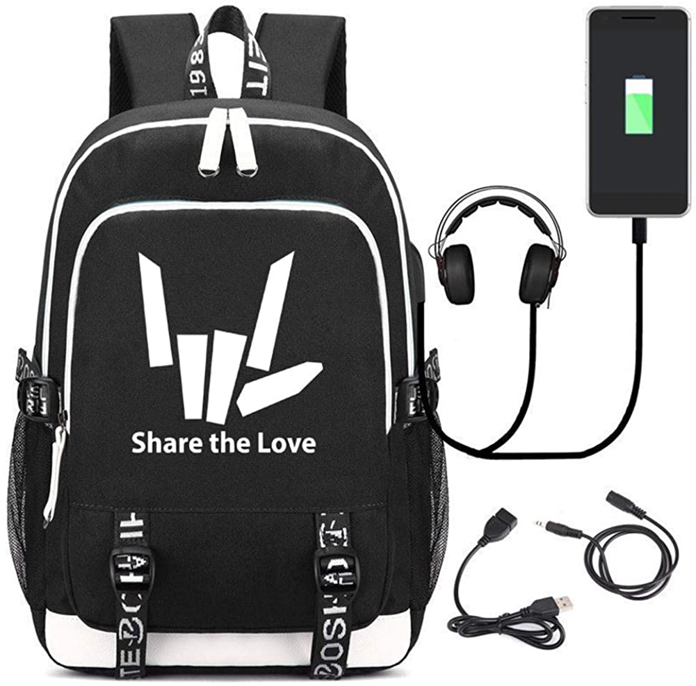 CHENMEILI Chad Wild Clay Printed Backpack Travel Laptop Bag Share The Love With USB Charging Port