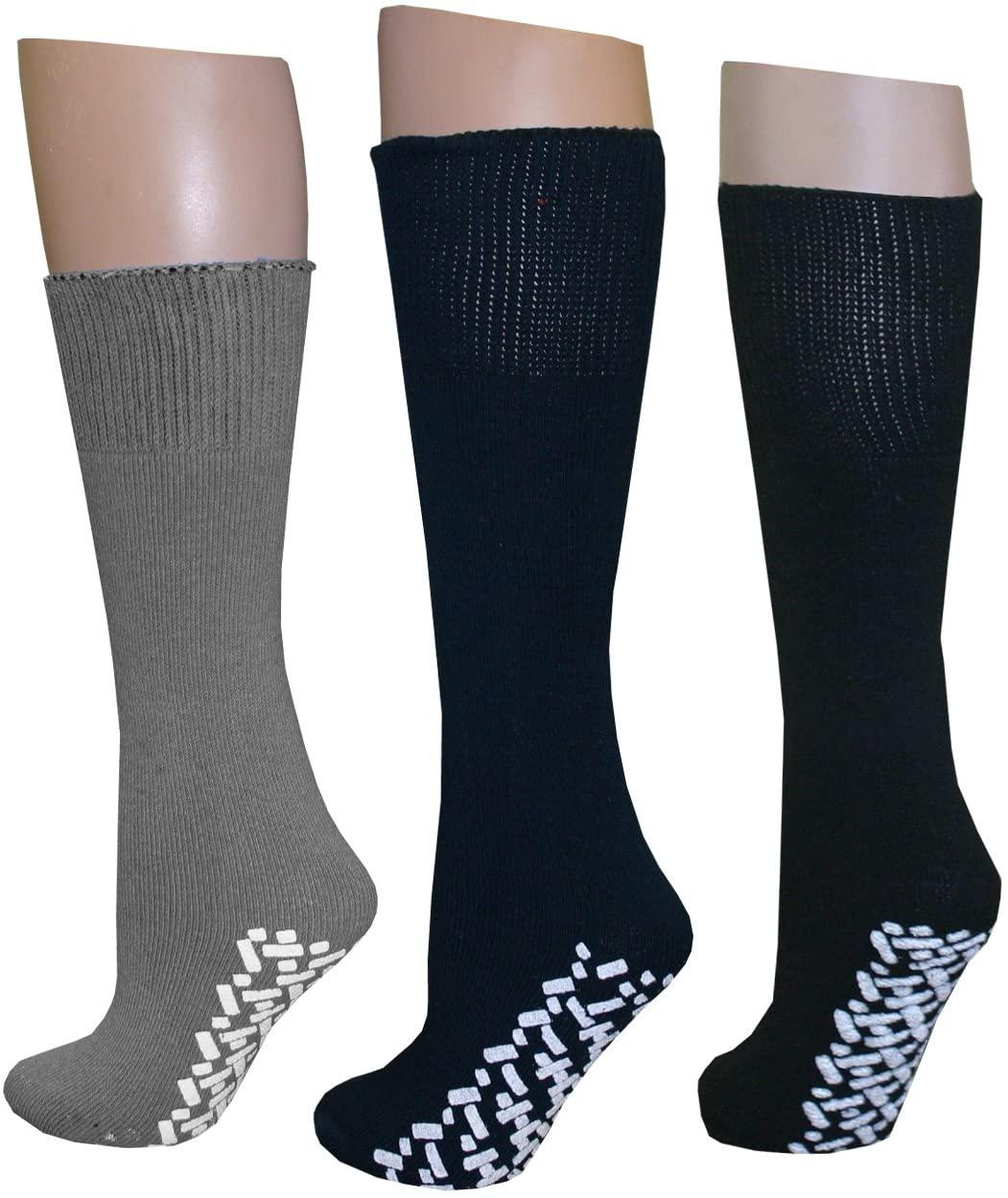 Diabetic Slipper Socks (3 Pairs, 3 Colors) ((1) Pair Black (1) Pair Navy (1) Pair Gray)