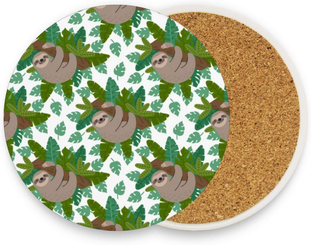 visesunny Classic Sloth On The Branch Drink Coaster Moisture Absorbing Stone Coasters with Cork Base for Tabletop Protection Prevent Furniture Damage, 2 Pieces
