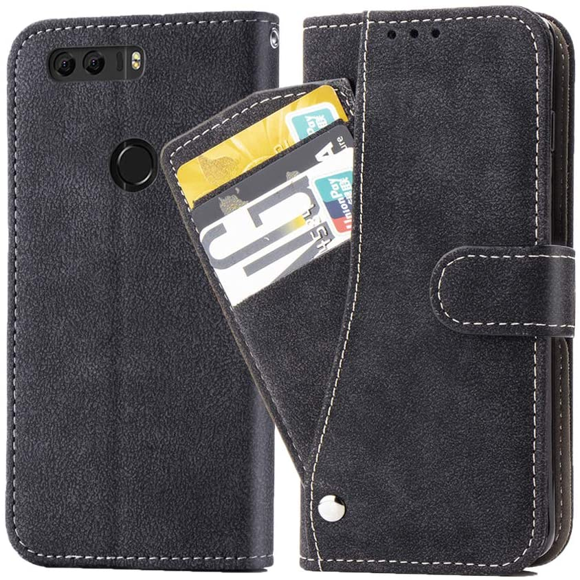 Asuwish Huawei Honor 8 / Honor 8 Premium Wallet Case,Luxury Leather Phone Cases with Credit Card Holder Slot Stand Kickstand Book Rugged Flip Folio Protective Cover for Huawei Honor 8 Women Black