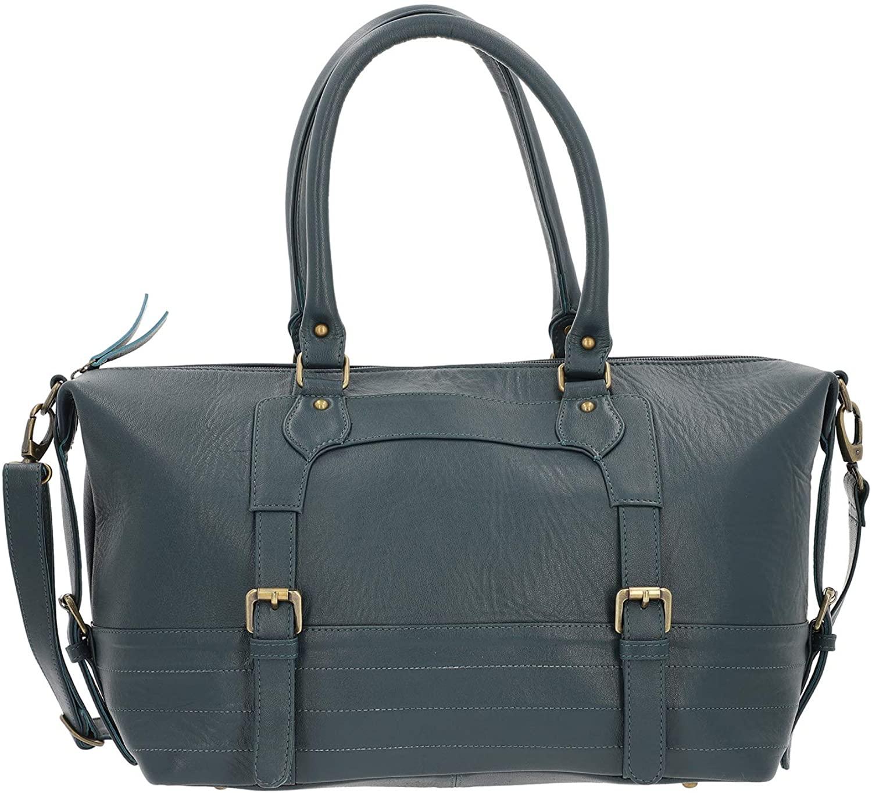 Navy Genuine Leather Luggage Bag Duffle Bag with Detachable Handle Drop Durable Material Strong Dual Handles Internal Zipper Pocket Travel Luggage Handbag