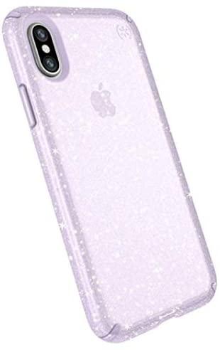 Speck iPhone Xs/X Case, Clear Glitter Protective Ultra Thin Slim Hard Anti Scratch Presidio Cover Case - Purple Glitter