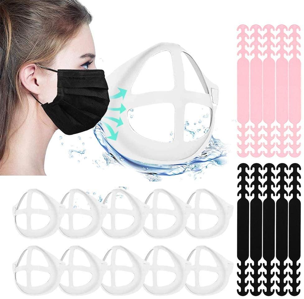 3D Mask Bracket Silicone Mask Bracket Inner Support Frame for Homemade Cloth Mask Cool Mask Hack More Space for Comfortable Breathing Washable Reusable (10Bracket+10Extender)