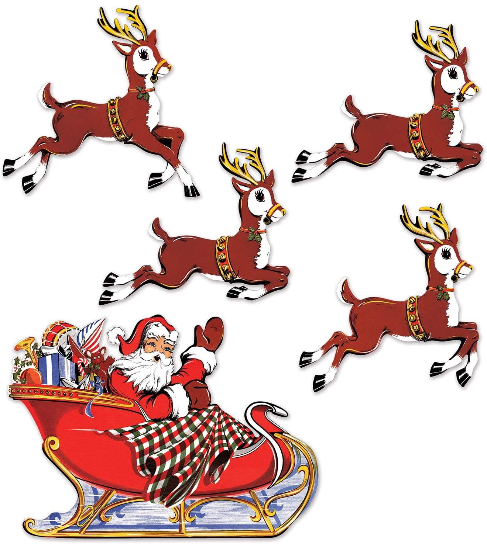 Vintage Christmas Santa and Sleigh Cutouts