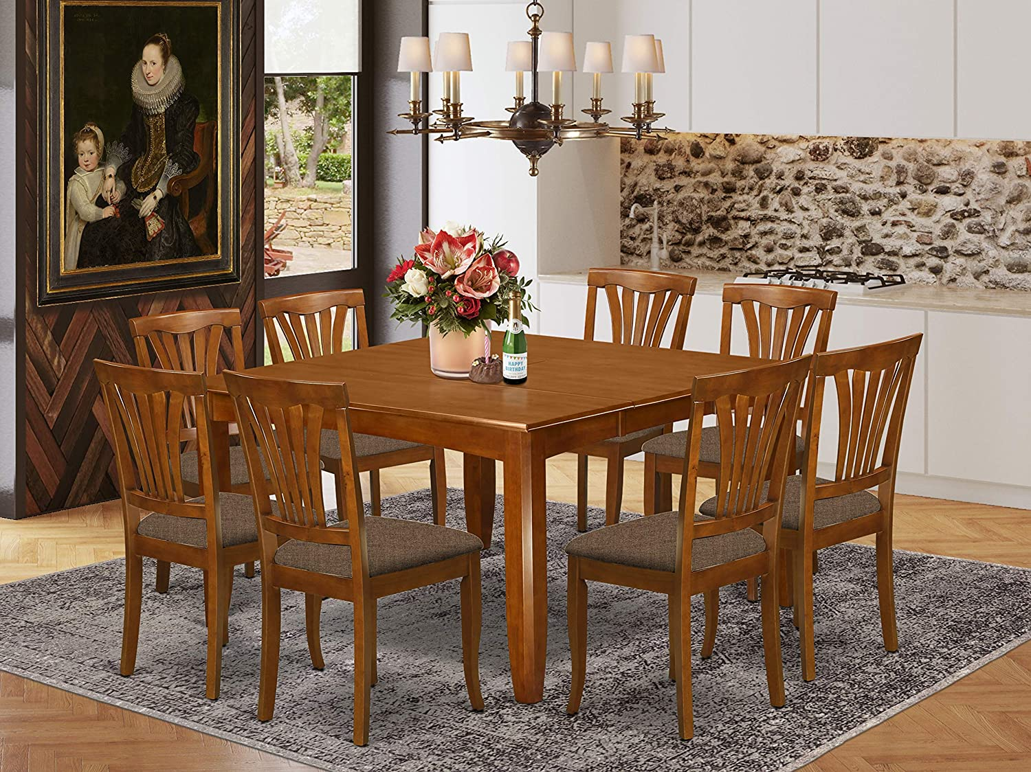 9 Pc Dining room set-Dining Table with Leaf and 8 Dinette Chairs.