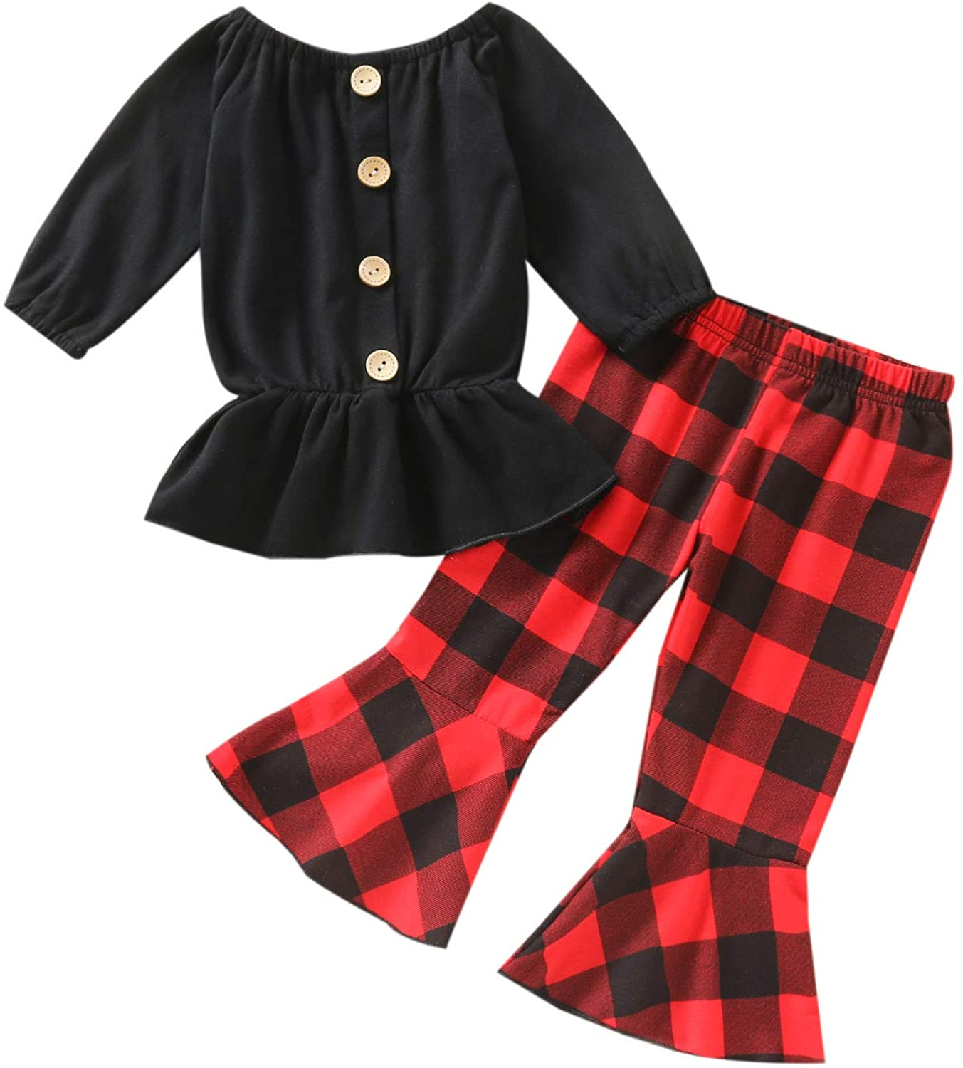 Christmas Toddler Kids Baby Girl Outfit Santa Dress Shirt Top Red Plaid Pants Set with Scarf Fall Winter Clothes