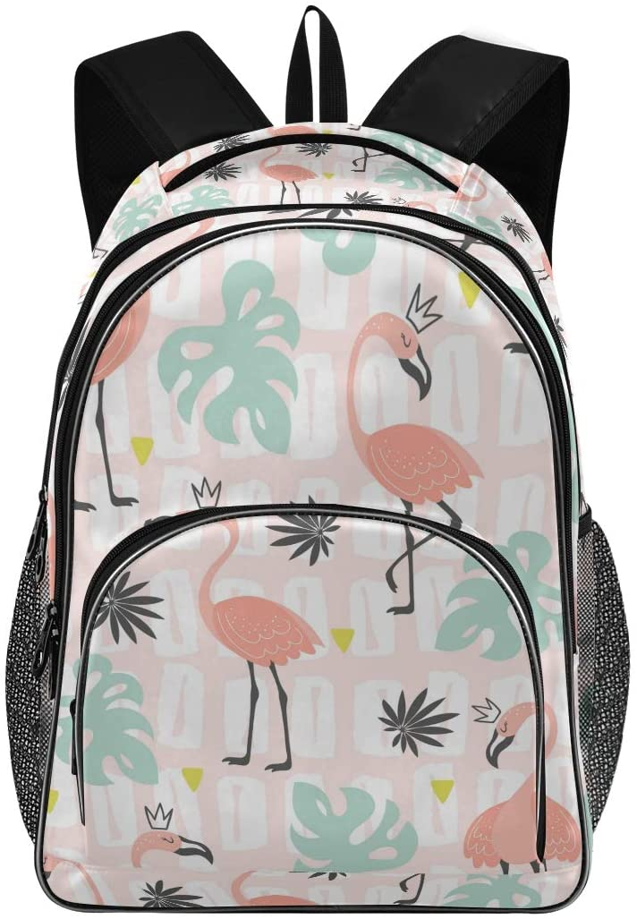 Kids Backpack Flamingos Three Layer Arc Bookbag for Boys Girls Elementary School Casual Travel Bag Laptop Daypack