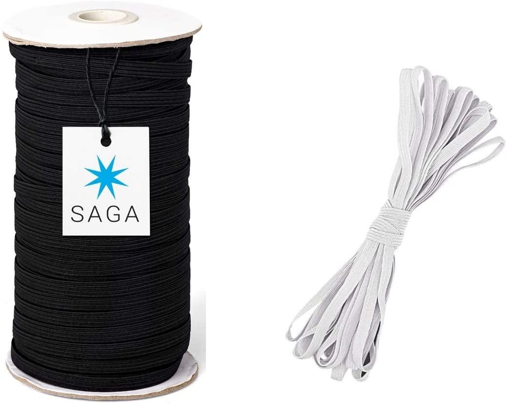 SAGA 100 Yards Black Elastic String Cord 1/4 inch 6mm Braided Elastic Cord/Elastic Cord/Elastic Rope for Sewing/Free 10 Yards White Flat Heavy Stretch Rubber Elastic Cord
