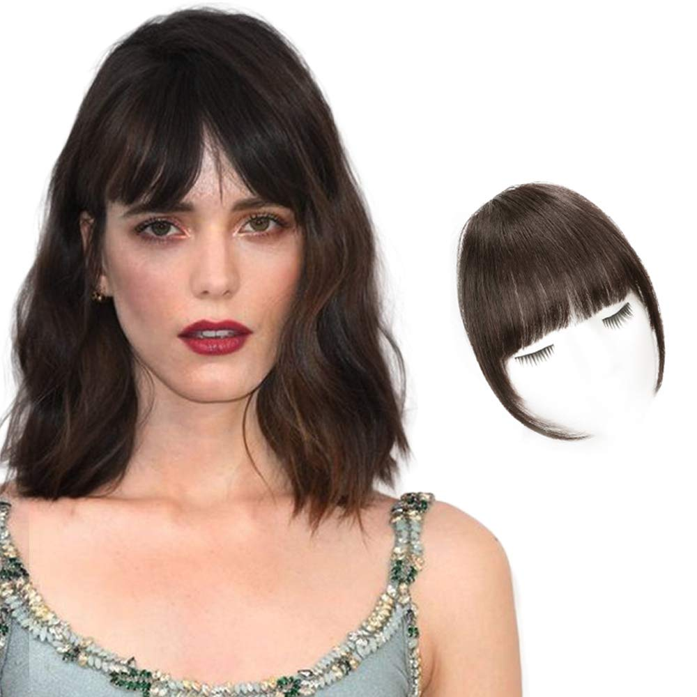 HANYUDIE Clip in Bangs 100% Human Hair Bangs One Piece Fringe Natural Real Human Hair Flat Neat Bangs with Gradual Temples One Piece Hairpiece for Party and Daily Wear(Dark Brown )