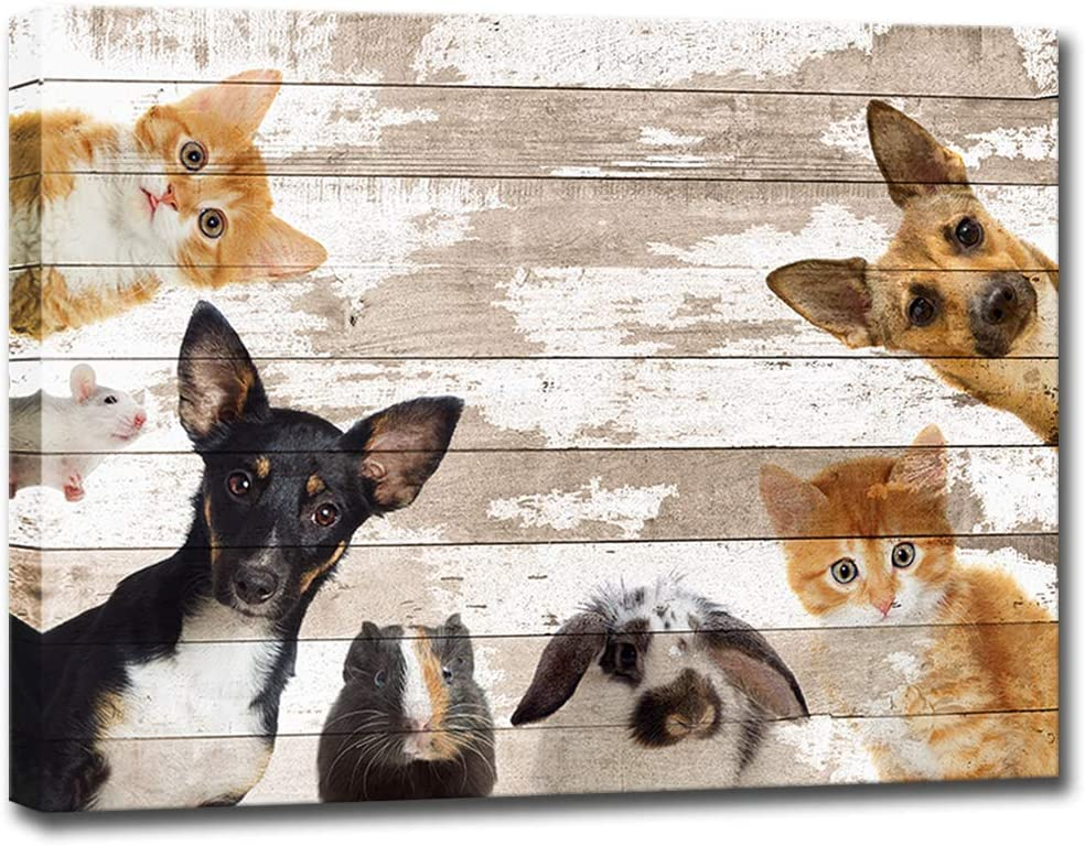 Vintage Animal Wall Art Dog Cat Rabbit Mouse Hamster Pet Picture Painting Prints on Canvas Kids Baby Nursery Bedroom Framed Wall Decor Modern Home Decoration Ready to Hang 24x32