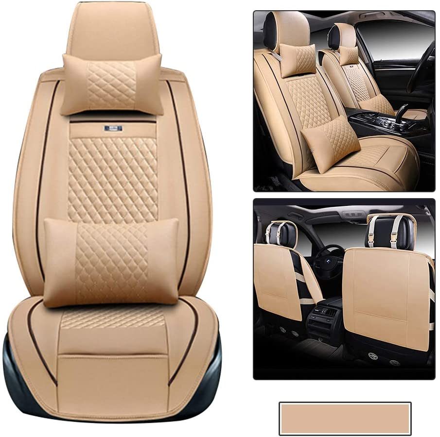 Car Seat Covers fit for Audi A6 with Waterproof PU Leather for 2 Front Seats Car Seat Protector - with Headrest and Lumbar Cushion Beige