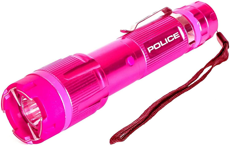 POLICE Stun Gun 1159 - Aluminum Series 59 Billion Rechargeable with LED Tactical Flashlight, Pink