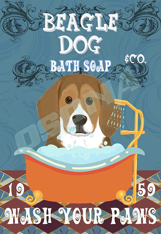 OSONA Beagle Dog Bath Soap Wash Your Paws Retro Nostalgic Traditional Rust Color Tin Logo Advertising Striking Wall Decoration Gift