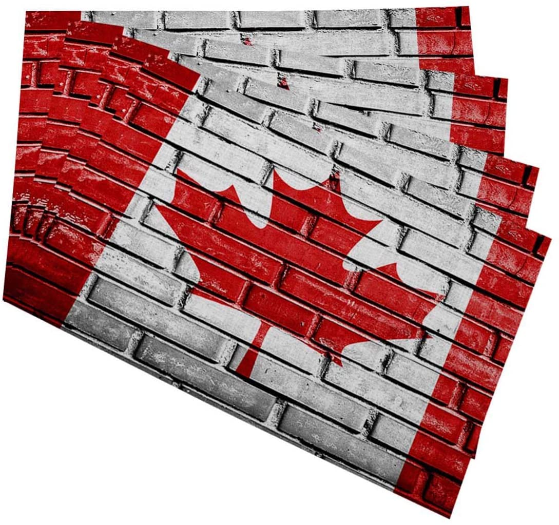 Mugod Canada Flag Placemats Canada Flag Painted on Old Brick Wall Texture Background Decorative Heat Resistant Non-Slip Washable Place Mats for Kitchen Table Mats Set of 4 12