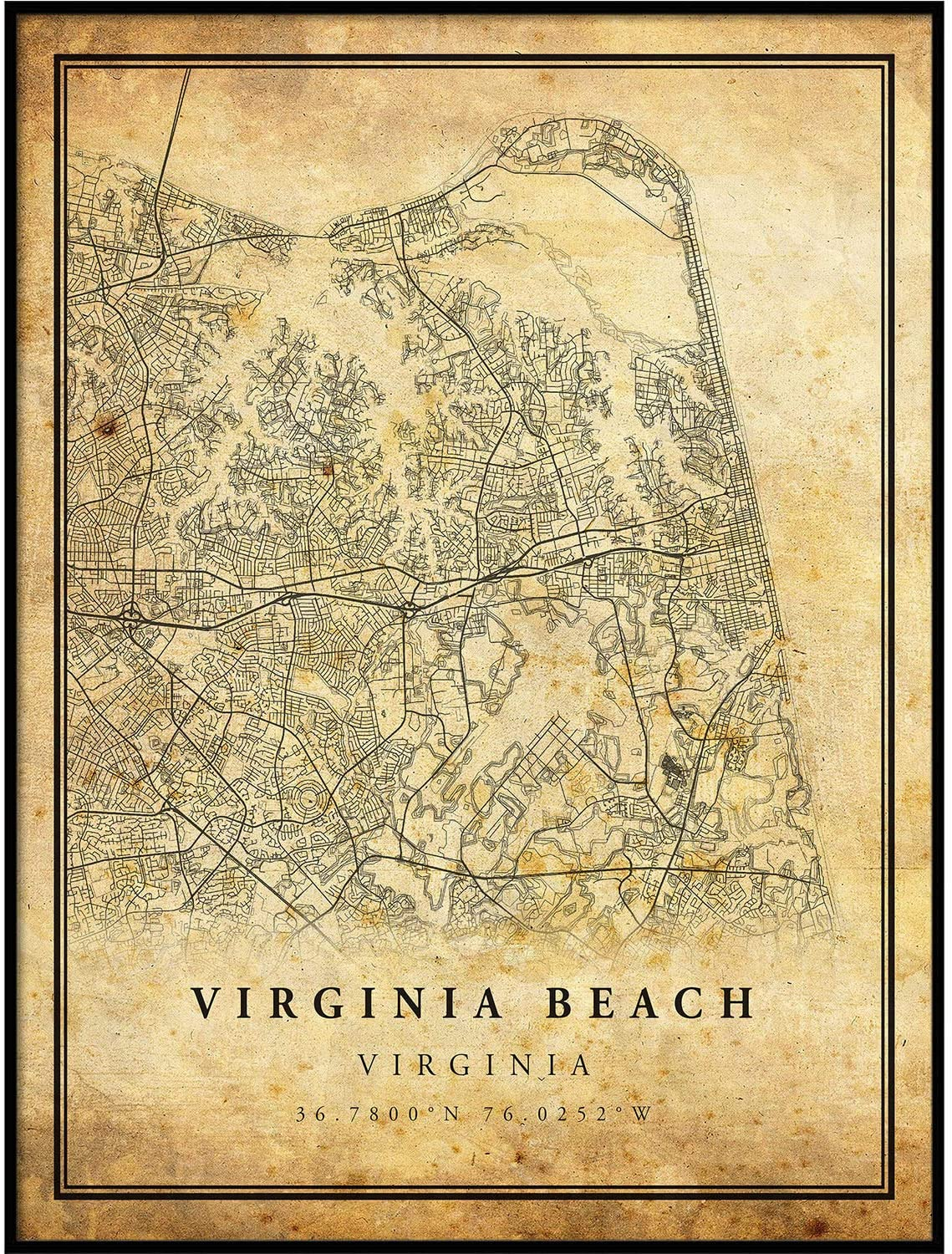 Virginia Beach map Vintage Style Poster Print | Old City Artwork Prints | Antique Style Home Decor | Virginia Wall Art Gift | map Prints 8.5x11