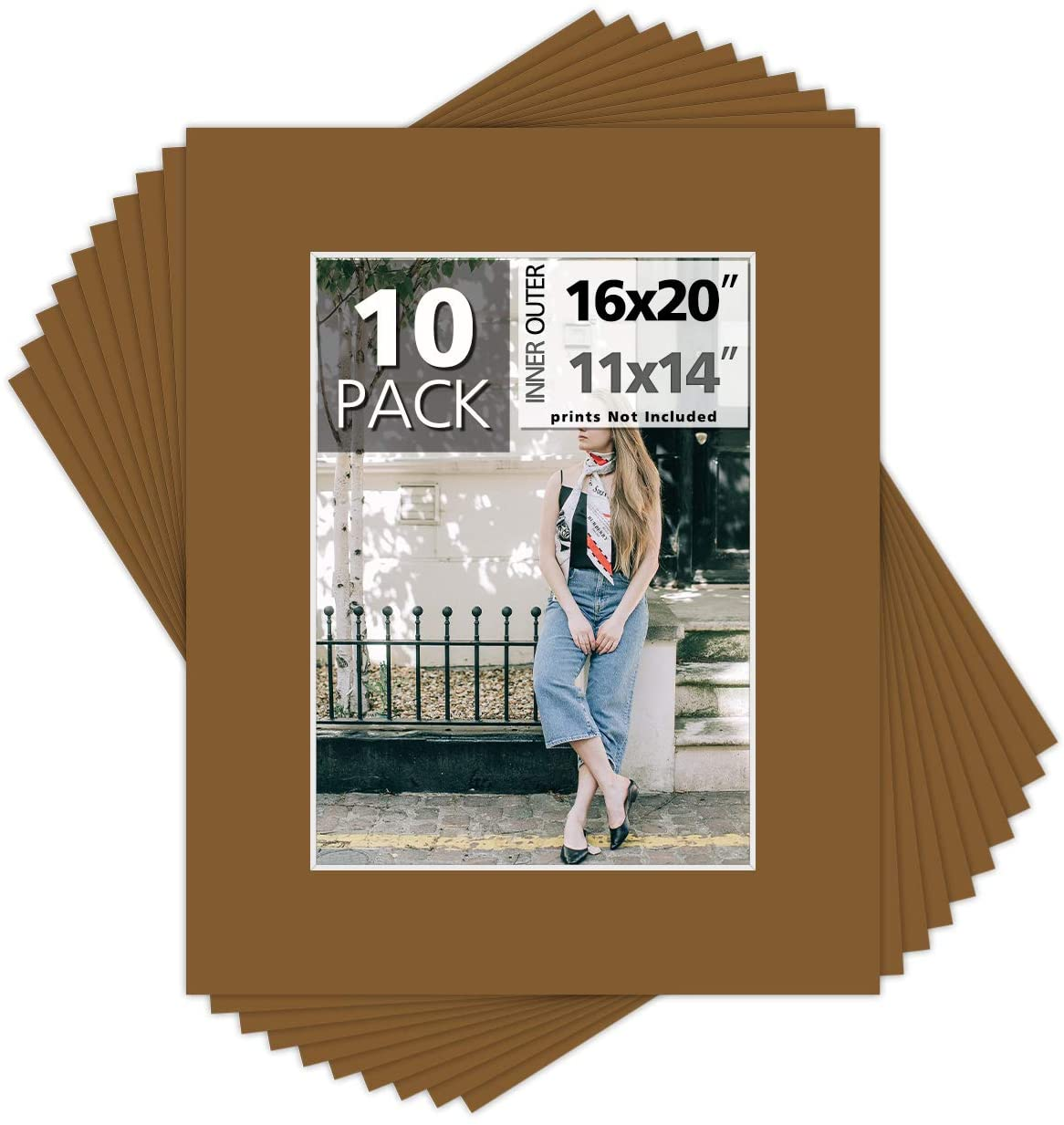 Mat Board Center, Pack of 10, 16x20 for 11x14 Photo Picture Mats - Acid Free, 4-ply Thickness, White Core - for Pictures, Photos, Framing, Smokey Tan