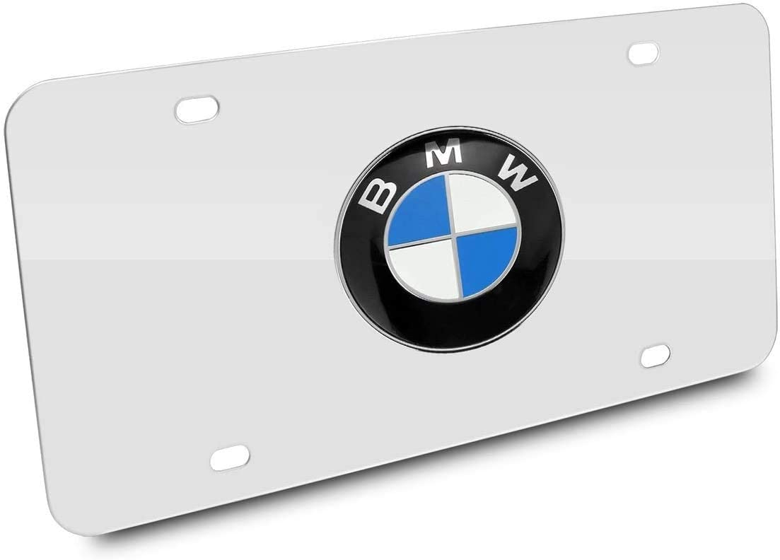 N / A for BMW Stainless Steel License Plate Frame, Chrome 3D Front License Plate Covers for BMW All Models (Silver)