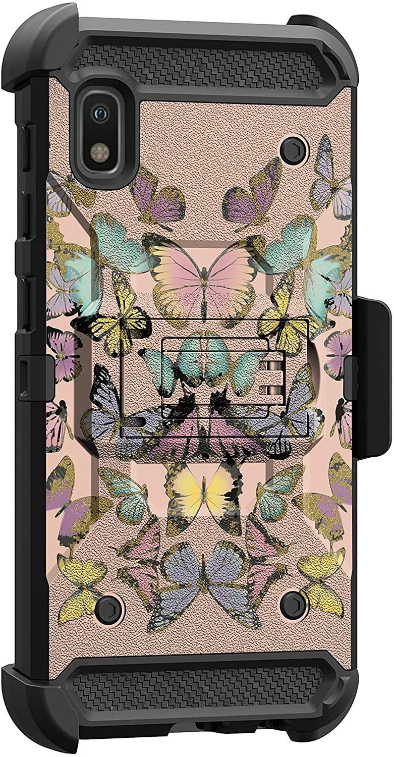 MINITURTLE Compatible with Samsung Galaxy A10e, A20e Triple Layer Rugged Combo Kickstand Belt Clip Holster Case Cover [Max Guard] - Butterflies