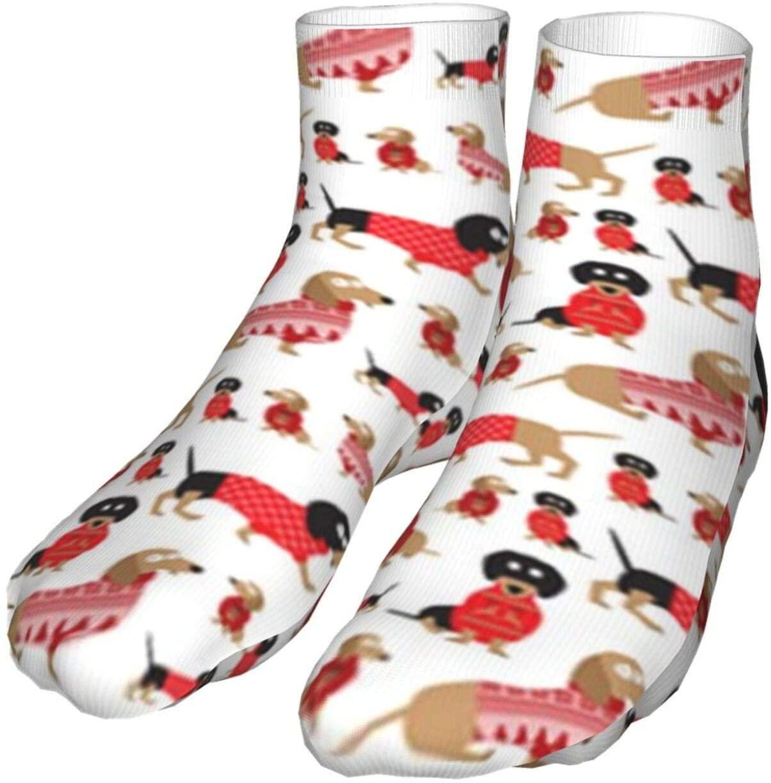 antcreptson Dachshunds in Christmas Sweaters Men's/Women's Comfortable Casual Funny Long Knee High Socks Compression Socks Winter Warm Soccer Socks
