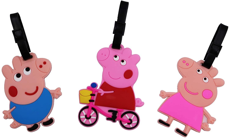Set of 3 - Super Cute Kawaii Cartoon Silicone Travel Luggage ID Tag for Bags (Peppa Pig)