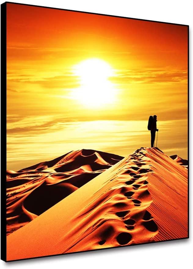ARRMT Framed Canvas Natural Landscape Wall Art Prints Desert Sand Dunes Traveler Footprint Charming Sunset Wall Artwork Decor Poster Nordic Modern Home Decoration for Living Room Bedroom 12x12inch