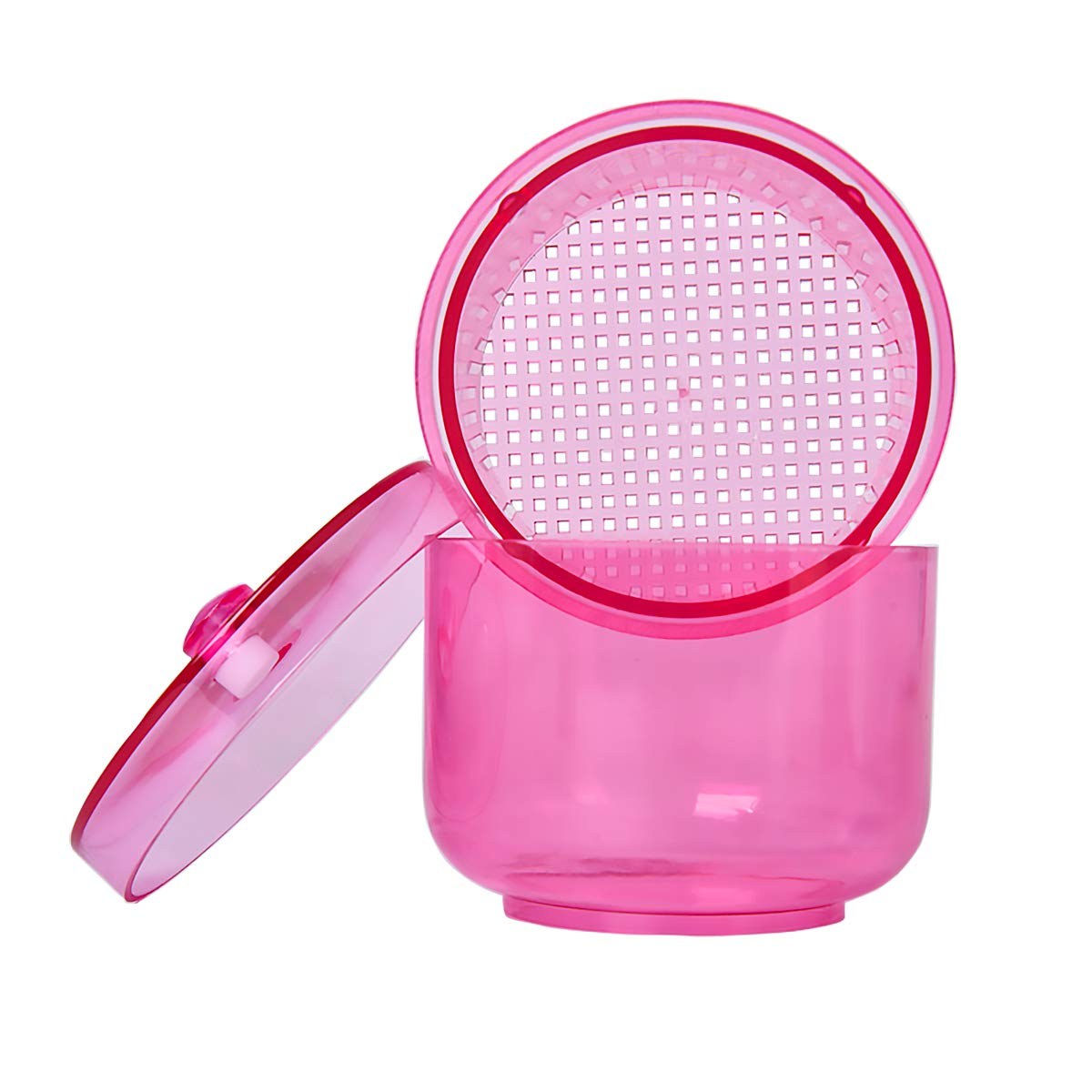 Dental Bur Holder Cleaner Nail Round Box Storage for Burs Cleaning and Soaking (Pink)