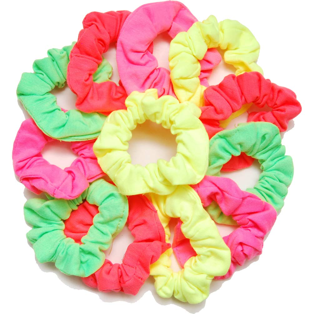 Luxxii Pretty Cotton Colorful Scrunchies Ponytail Holder Elastic Hair Bands (12 Count, Assort Color_E)
