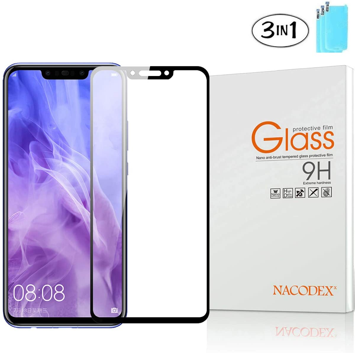 Screen Protector for Huawei Mate 20 Lite,Nacodex [3-Pack] 3D Full Cover Anti-Scratch Hard Tempered Glass Protective for Huawei Mate20 Lite -Black