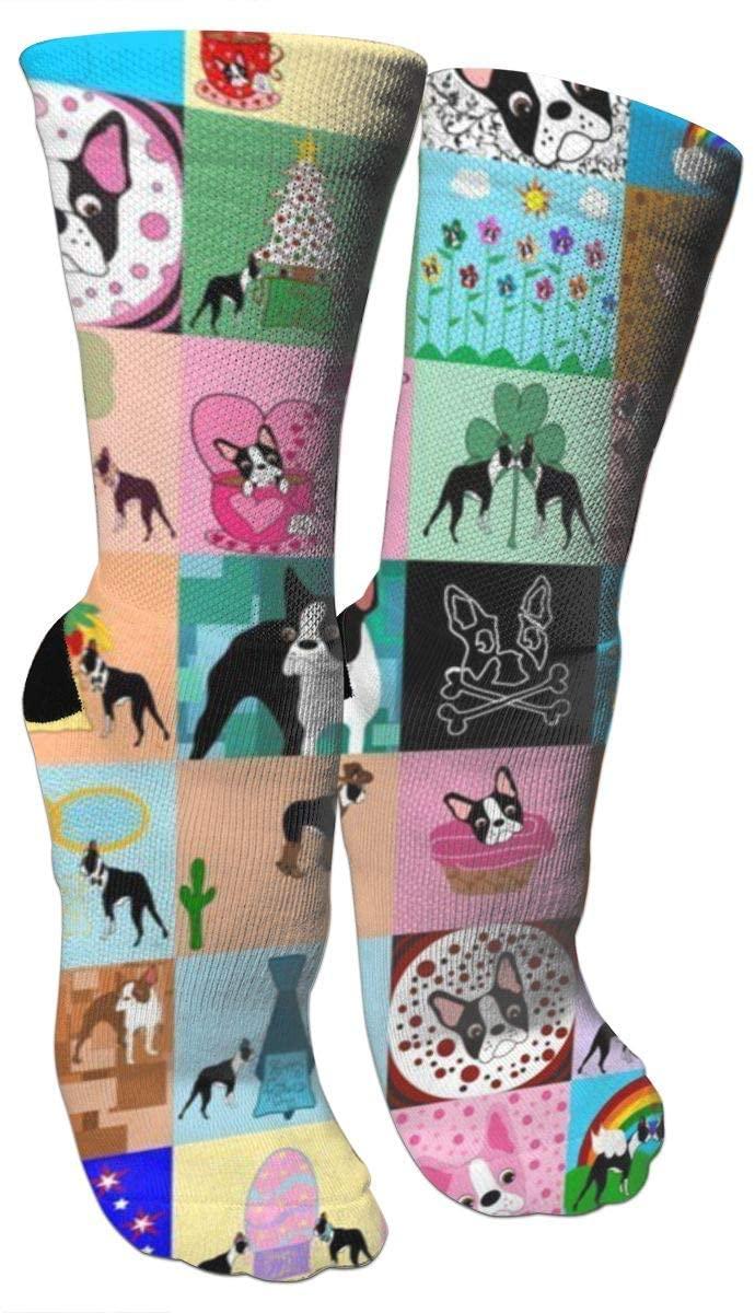 ~ Socks Crazy Faux Boston Terrier Compression Socks for Women and Men Best Medical, Nursing, Travel & Flight Socks