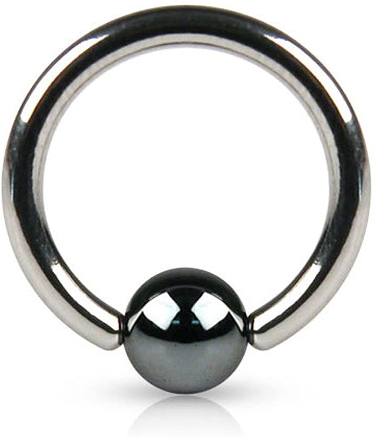 Inspiration Dezigns 14G Captive Bead Ring with Hematite Plated Bead - Sold Individually