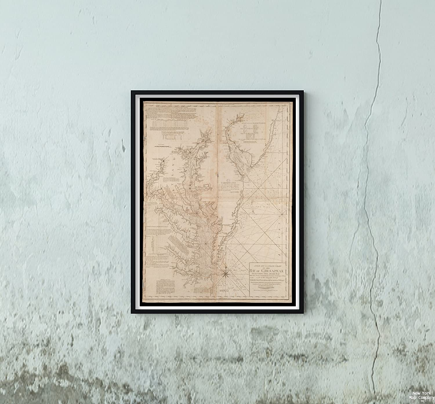 1794 Map Delaware Bay A New and Accurate Chart of The Bay of Chesapeak Including Delaware Bay with a|Vintage Fine Art Reproduction|Ready to Frame