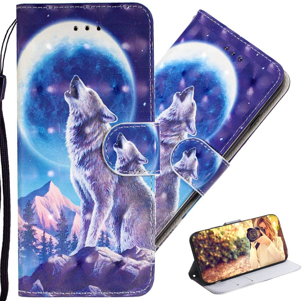QIVSTAR Case for Samsung Galaxy A21S 3D Book Style Case 360 Degree Protective Case with Wrist Strap Flip Folio Case for Samsung Galaxy A21S Moon Wolf YY