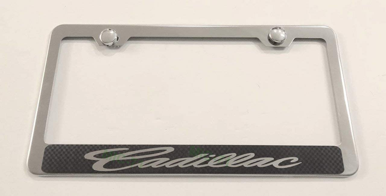 Metal Stainless Steel License Plate Frame Tag Holder for Cadillac Script, Applicable to All tag License Frame Carbon Fiber on Chrome (Fit: Cadillac)