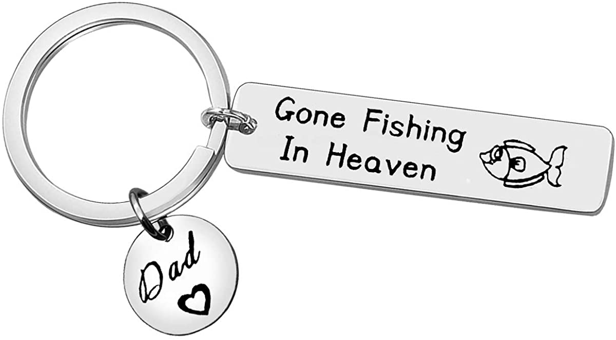 Memorial Keychain in Memory of Dad Remembrance Gift for Loss of Dad Gone Fishing in Heaven Sympathy Gift for Loss of Loved One Dad Memorial Jewelry Memorial Father Gifts Memorial Key Ring Keepsake